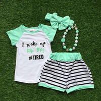 2016 girls outfit woke up tired set mint black stripes kids boutique short sets 1-9 years old girls clothing with accessories