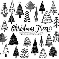 Christmas Tree Clipart. Hand Drawn Christmas Illustrations.Doodle Winter Fir Tree Images. Christmas Doodles for Gift Tags, Christmas Cards.