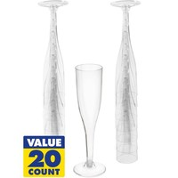 CLEAR Plastic Champagne Flutes 20ct