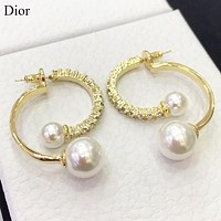 Dior Fashion new pearl long earring women Golden