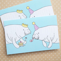 Birthday Celebration Manatee greeting card - blank inside, white envelope - Supporting Save The Manatee