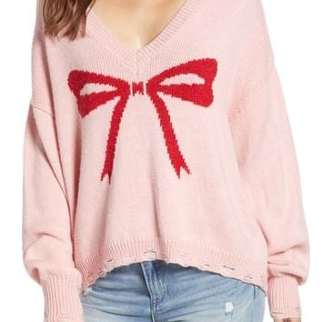 Wildfox Clement Intarsia Bow Sweater | Nordstrom