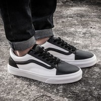 One-nice™ VANS Classic black and white leather casual shoes