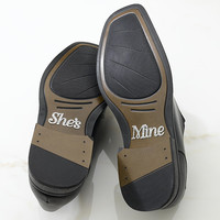 """""""She's Mine"""" Shoe Stickers for Wedding"""