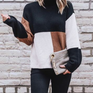 Autumn and winter loose half-high collar plaid women's large size sweater