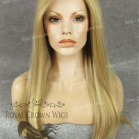 """24 inch Heat Safe Synthetic Straight Texture Lace Front """"Aphrodite"""" in Golden Blonde Mix"""