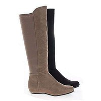 Entry By Soda, Knee High Stretchy Shaft Zip Up Riding Boots