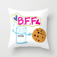 Milk and Choco chip cookie BFF Throw Pillow by Cindys