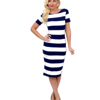 Navy & White Nautical Striped Short Sleeve Stretch Knit Pencil Dress