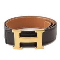 AUTHENTIC HERMES CONSTANCE LEATHER H BELT 〇Y BLACK BROWN 70 GRADE AB USED -AT