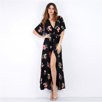 Fashion Flower Print V-Neck Short Sleeve Chiffon Beach Maxi Dress