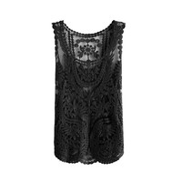 Zacoo Women's Vintage Crochet Lace Tank Top One Size Color black