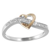 Tressa Rose Gold-plated and Sterling Silver Cubic Zirconia Heart Ring | Overstock.com