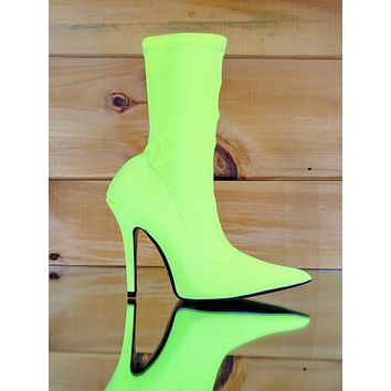 """CR Neon Yellow Pull On Stretch Extreme Pointy Toe Ankle Boot 4"""" High Heels"""
