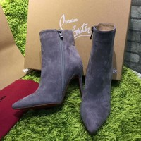 Best Online Sale Christian Louboutin CL Top Suede Ankle Boot Grey