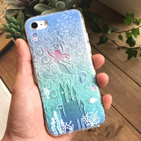 New 3D Relief Alice Princess Mermaid Flower Case For iPhone 7 6 6S Plus Cartoon Soft Silicone Phone Cover Back For iPhone 6 7 6S-04410