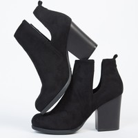 Side Slit Suede Chunky Booties