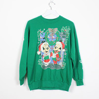 Vintage Ugly Christmas Sweater Green Seasons Greetings Mickey Mouse Sweatshirt Minnie Mouse Sweater Holiday Tacky Xmas Sweater S M Medium