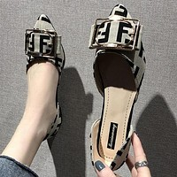 FENDI Summer Women Pointed Buckle Flats Single Shoes Grey