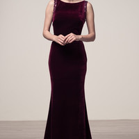 Backless Velvet Trumpet Long Evening Formal Dress