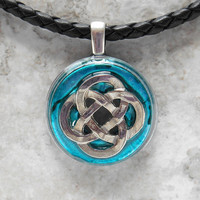 celtic knot necklace: aqua - mens jewelry - mens necklace - celtic jewelry - boyfriend gift - leather cord - irish jewelry - unique gift