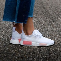 Adidas WMNS NMD R1 Footwear White/Icey Pink Boost Sport Running Shoes Classic Casual Shoes Sneakers