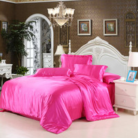 Home Textile Bedding Set 100% Silk Solid Duvet Cover Bed Set Bedclothes Bed Sheet Imitation Silk Bed Linens Twin Queen King Size