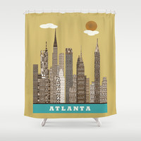 Atlanta city vintage Shower Curtain by bri.buckley