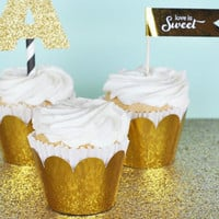 Gold Cupcake Wrappers (Set of 12)