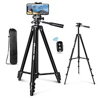 "UBeesize 60"" Phone Tripod with Carry Bag & Cell Phone Mount Holder for Live Streaming, Extendable Travel Lightweight Tripod Stand with Smartphone Bluetooth Remote, Compatible with iOS/Android"