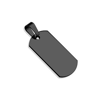 Tagged in Black - Small Black Stainless Steel Dog Tag Pendant