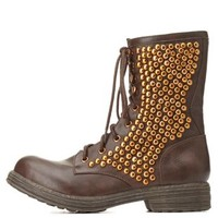 Qupid Studded Combat Boots by