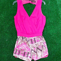 LIFE OF THE PARTY SEQUIN ROMPER IN PINK MULTI