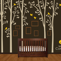 Tree with birds Wall Decal. Wall Sticker. Vinil wall decal. Birch trees. K020