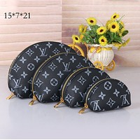 Louis Vuitton LV Fashion Women Shell Leather Purse Wallet Four-Piece Plaid Print Zipper Cosmetic Bag-1