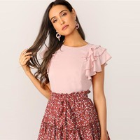 Cute Keyhole Back Layered Ruffle Sleeve Blouse Women Tops Solid Round Neck Short Sleeve Womens Tops And Blouses