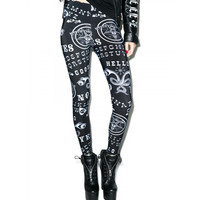 Gothic Emo Ouija Dark Magic Mystifying Oracle Design Black Leggings