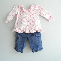 Vintage Baby Girl Pink Shirt and Blue Jeans Clothing Newborn Infants Gently Used Vintage Baby Clothes Baby Bubble