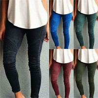 Womens Pleated Trousers Skinny Jeggings Pencil Pants Stretch Leggings Plus Size