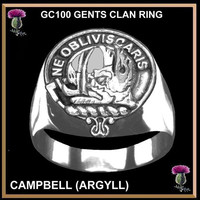Scottish Clan Crest Ring GC100 - Sterling Silver - All Clans