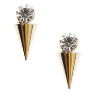 Gold Rhinestone Spike Stud Earrings and Shop Accessories at MakeMeChic.com