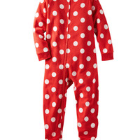 1-Piece Polka Dot Microfleece PJs