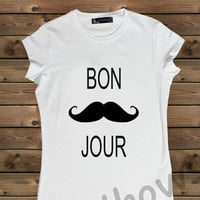 Women's T-shirt , Screenprinted Moustache on a Bike Ladies T-shirt,Screen Printing T shirt,Women's T-shirt,White T-shirt,Size S, M, L