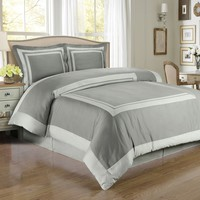 Hotel Gray/Light-Gray Combed cotton Duvet Cover Set