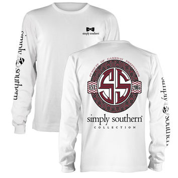 Simply Southern Preppiness Gameday Football Bow Garnet Long Sleeve T-Shirt