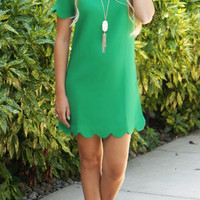 Bella Shift Dress - Green Scalloped