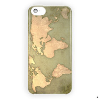 Vintage World Map Design Cover For iPhone 5 / 5S / 5C Case