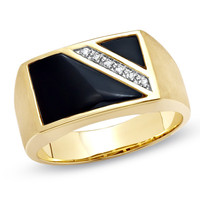 Men's Onyx Flag Ring with Diamond Accents in 10K Gold - Peoples Jewellers Men's Onyx Flag Ring with Diamond Accents in 10K Gold - - View All Rings - Peoples Jewellers