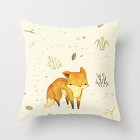 Lonely Winter Fox Throw Pillow by Teagan White | Society6