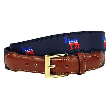Democratic Donkey Leather Tab Belt in Navy on Navy Canvas by Country Club Prep